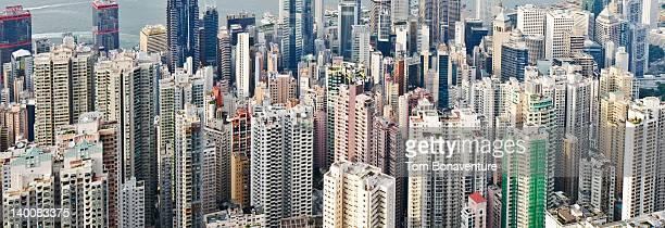 Panoramic of Hong Kong skyscrapers