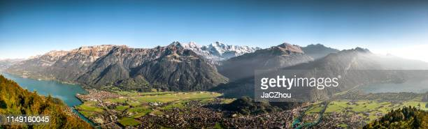 panoramic of interlaken cityscape from harderkulm - bern canton stock pictures, royalty-free photos & images