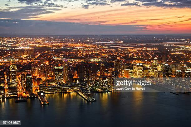 Panoramic of Jersey City at sunset
