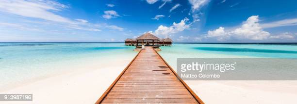 panoramic of jetty on a tropical island, maldives - idílico fotografías e imágenes de stock
