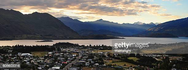 Panoramic of Lake Wanaka from Mt. Iron at sunset,New zealand.