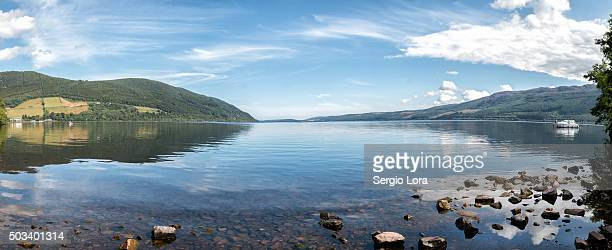 panoramic of loch ness - loch ness monster stock pictures, royalty-free photos & images