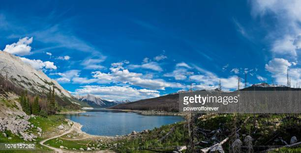 Panoramic of Medicine Lake in the Canadian Rocky Mountains of Jasper National Park, Alberta, Canada