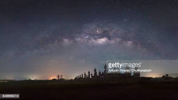 Panoramic of Milky Way over Big Buddha statue