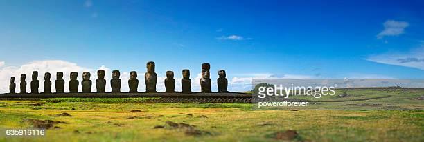 Panoramic of Moai at Ahu Tongariki on Easter Island, Chile
