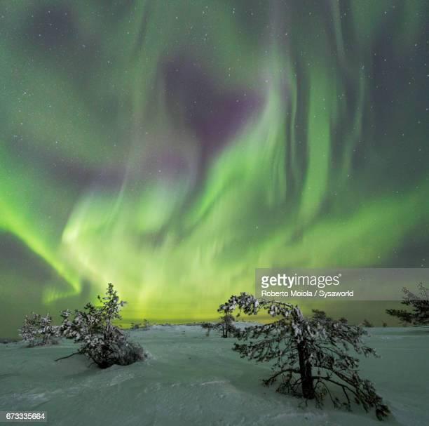 Panoramic of Northern lights Kittilä Lapland Finland
