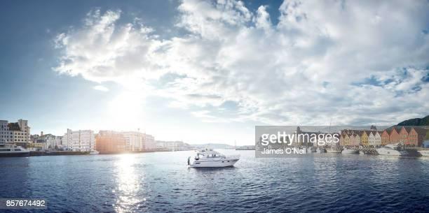 Panoramic of port with speedboat, Bergen, Norway