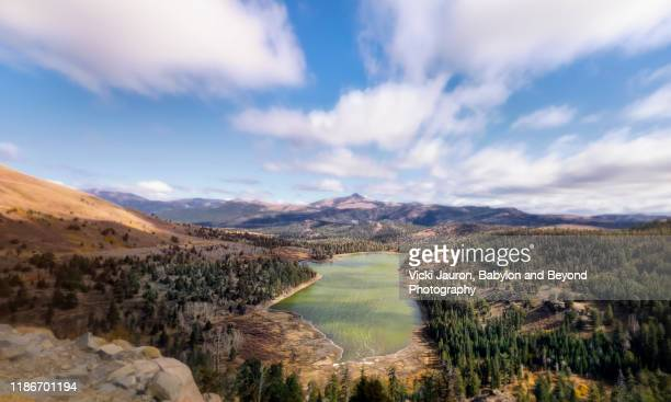 panoramic of red lake along the carson pass south of lake tahoe, california - carson california stock pictures, royalty-free photos & images