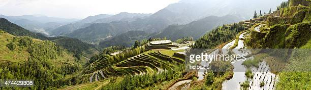 Panoramic of rice terraces on high mountains