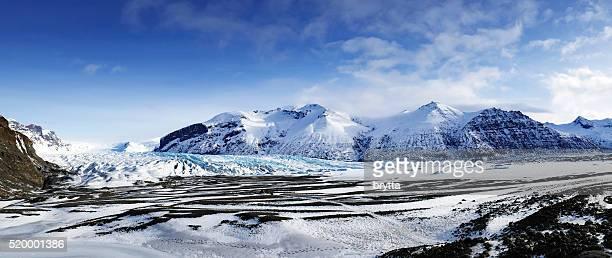 パノラマに広がるスカフタフェットルアイスランドの氷河の - バトナ氷河 ストックフォトと画像
