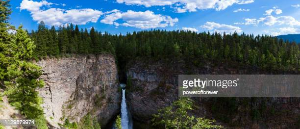 Panoramic of Spahats Creek Falls at Wells Gray Provincial Park in the Canadian Rocky Mountains of British Columbia, Canada