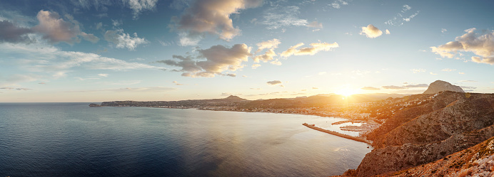 Panoramic of Spanish coastal city at sunset, Xabia, Spain - gettyimageskorea