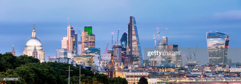 Panoramic of St Paul's Cathedral and the City of London at dusk : Stock Photo