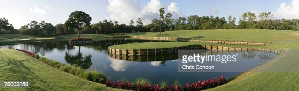 Panoramic of the 17th hole of THE PLAYERS Stadium Course at the TPC Sawgrass in Ponte Vedra Beach FL Photo by Chris Condon/PGA TOUR