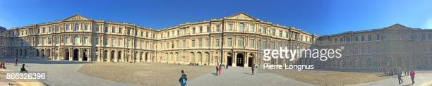 panoramic of the cour carrée, louvre palace and museum, paris, france - cour carree stock pictures, royalty-free photos & images