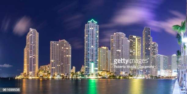 Panoramic of the Downtown Miami skyline from Brickell Key, Miami, Florida, United States