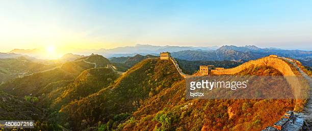 Panoramic of The great wall in the sunset