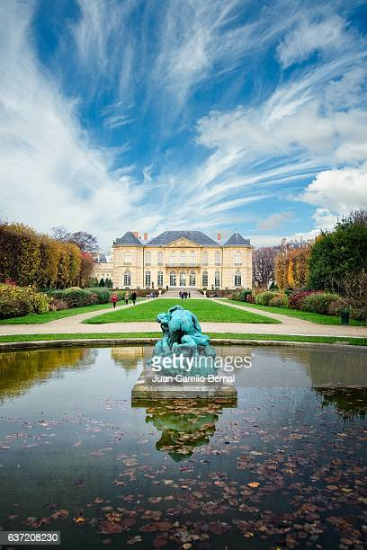 Panoramic of the landscaped grounds of the Rodin Museum, Paris, France