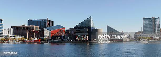panoramic of the national aquarium in baltimore, maryland - baltimore stock photos and pictures