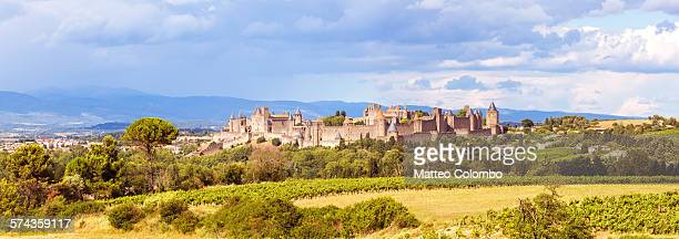 panoramic of the old city of carcassonne, france - carcassonne stock pictures, royalty-free photos & images