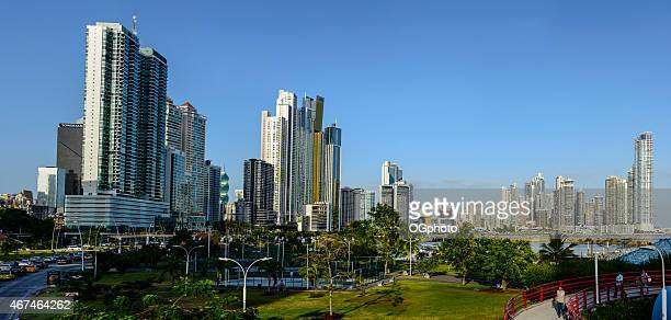 xxxl: panoramic of the skyline of panama city - ogphoto stock photos and pictures