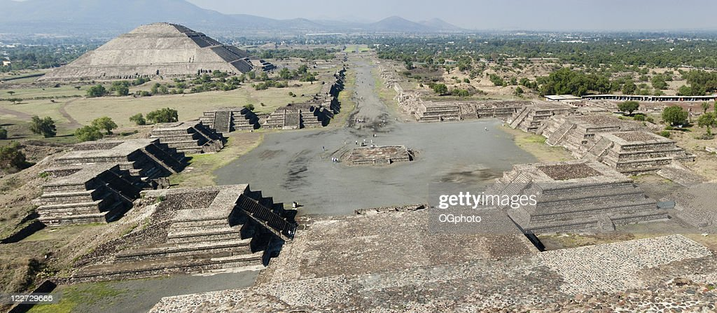 XXL: Panoramic of the Teotihuacan Pyramids in Mexico : Stock Photo