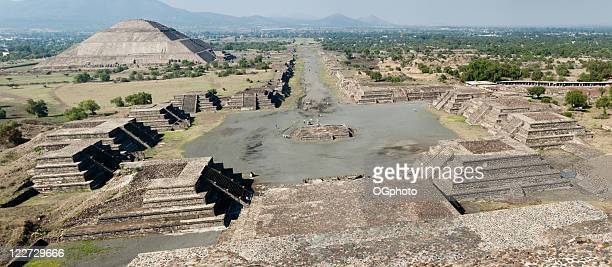 xxl: panoramic of the teotihuacan pyramids in mexico - aztec civilization stock photos and pictures