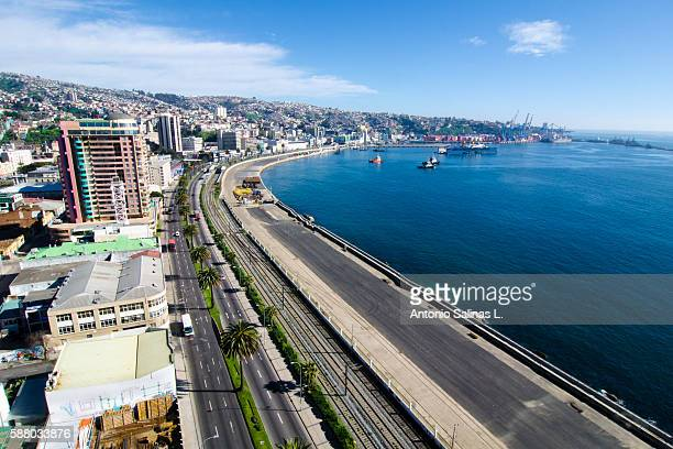panoramic of the valparaíso city chile - valparaiso chile stock pictures, royalty-free photos & images
