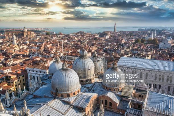 panoramic of venice from the heights at sunset - venice stock pictures, royalty-free photos & images