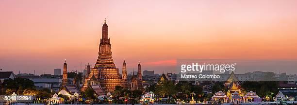 Panoramic of Wat Arun temple at sunset, Bangkok, Thailand
