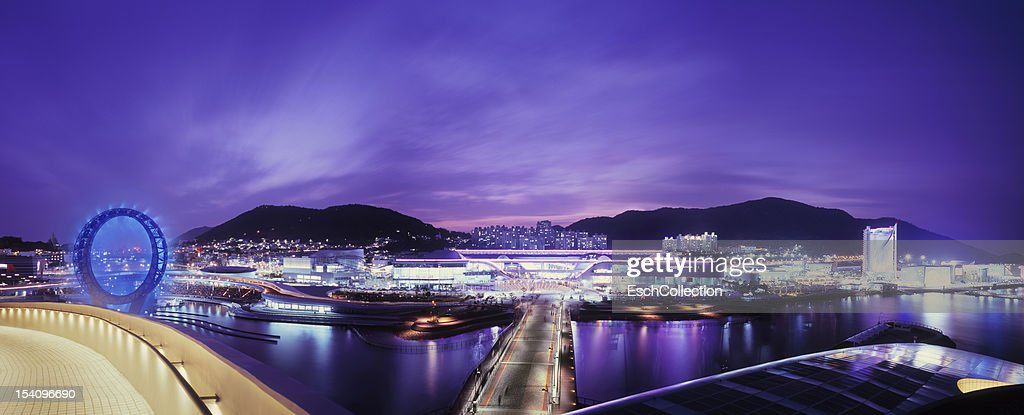 Panoramic overview Expo 2012 in Yeosu, South Korea : Stock-Foto