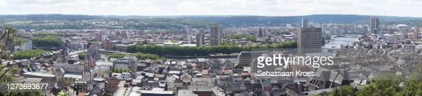 panoramic overview on liège, urban skyline, belgium - panoramisch stockfoto's en -beelden