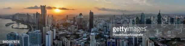 panoramic panama city sunset - panama city panama stock pictures, royalty-free photos & images