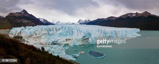 Panoramic Perito Moreno Glacier sits on a cold day, Argentina, Patagonia, South America