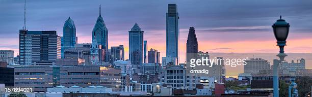 Panoramic Philadelphia with Colorful Sunset over the City