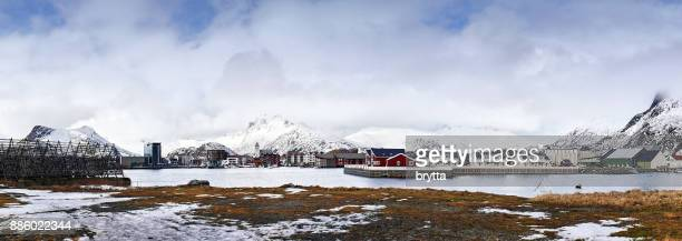 Panoramic photo of the fishing village of  Svolvaer with harbor, houses  and drying rack , Lofoten Islands, Norway