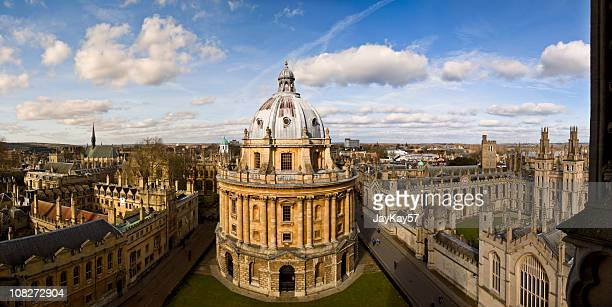 panoramic photo of the oxford skyline and radcliffe camera - oxford university stock pictures, royalty-free photos & images