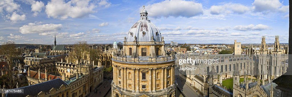 Panoramic photo of the Oxford skyline and Radcliffe Camera : Stock Photo