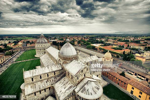 panoramic photo of the pisa cathedral. - pisa stock pictures, royalty-free photos & images