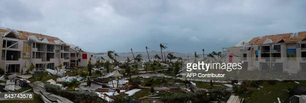 A panoramic photo taken on September 6 2017 shows the damaged Hotel Mercure in Marigot near the Bay of Nettle on the French Collectivity of Saint...