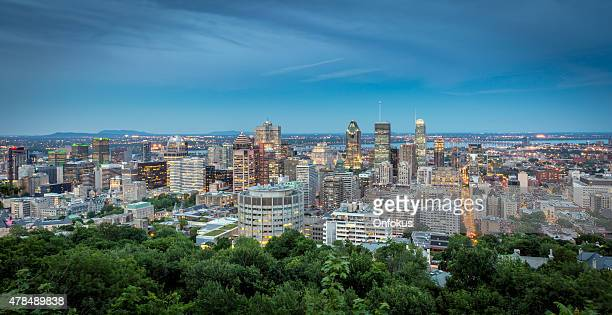 Panoramic picture of Montreal cityscape at sunset