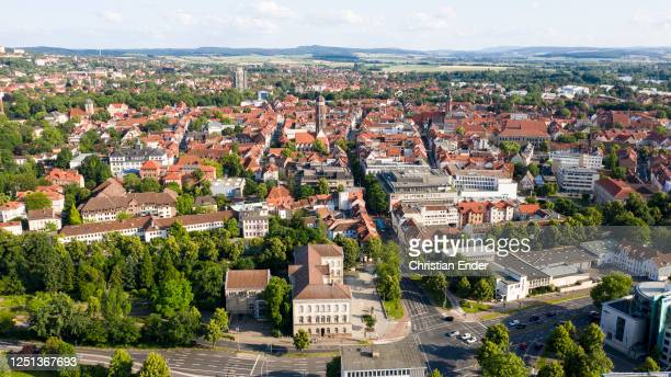 Panoramic picture of the city center of the university town of Goettingen on June 22, 2020 in Goettingen, Germany.
