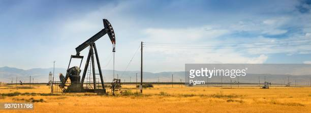 Panoramic pumpjack lifts oil from a well in California