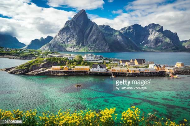 panoramic seascape near reine, moskenes, lofoten islands, norway - lofoten stock pictures, royalty-free photos & images