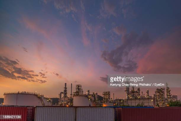 panoramic shot of buildings against sky during sunset - greenpeace stock pictures, royalty-free photos & images
