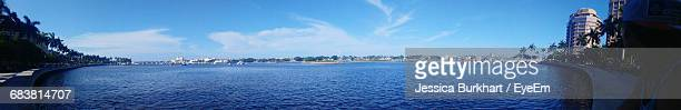 Panoramic Shot Of Calm Blue Sea Against The Sky