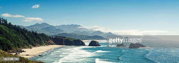 panoramic shot of cannon beach, oregon - pacific northwest stock pictures, royalty-free photos & images