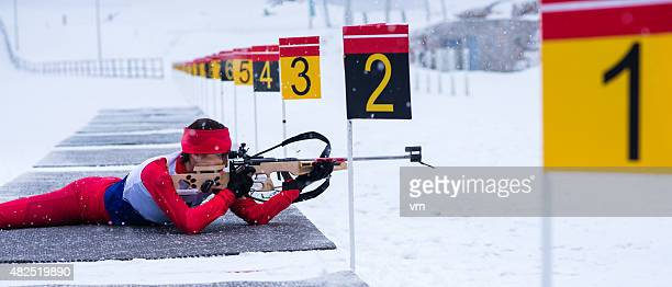 Panoramic shot of female shooting at biathlon training
