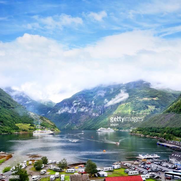 Panoramische opname van Geirangerfjorde, Noorwegen