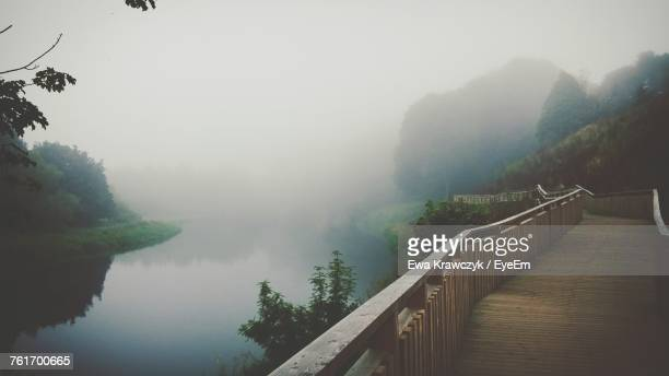 Panoramic Shot Of Lake In Foggy Weather